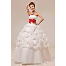 Discount Ball Gown Strapless Floor Length Wedding Dresses with Red Belts