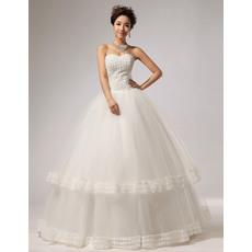 Elegant Floral Ball Gown Sweetheart Floor Length Satin Wedding Dresses