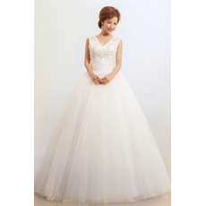 Beautiful V-Neck Ball Gown Floor Length Satin Organza Dresses for Spring Wedding