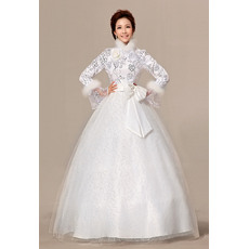 Special Long Sleeves High-Neck Ball Gown Floor Length Satin Organza Wedding Dresses for Fall/ Winter