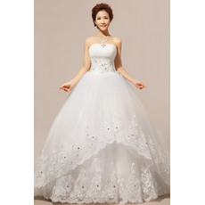 Newest Ball Gown Strapless Floor Length Satin Organza Wedding Dresses