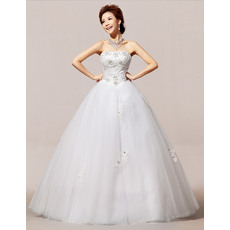 Discount Ball Gown Strapless Floor Length Satin Organza Wedding Dresses