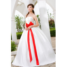 Special Ball Gown Strapless Floor Length Satin Wedding Dresses with Sashes