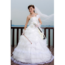 Chic Ball Gown Strapless Floor Length Satin Tulle Tiered Skirt Wedding Dresses for Spring