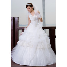 Custom Elegant Halter Ball Gown Floor Length Satin Organza Wedding Dresses