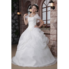 Beautiful Off-the-shoulder Ball Gown Floor Length Satin Organza Dresses for Spring Wedding