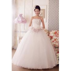 Discount Ball Gown Strapless Floor Length Satin Organza Beaded Wedding Dresses
