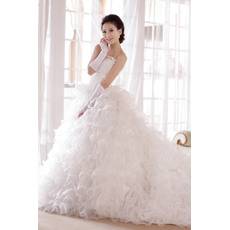 Gorgeous A-Line Strapless Floor Length Satin Organza Ruffle Wedding Dresses