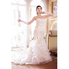 Stylish Mermaid/ Trumpet Strapless Chapel Train Ruffled Lace Organza Wedding Dresses/ Dramatic Romantic Tiered Bride Gowns