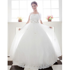 Elegant Ball Gown Strapless Floor Length Beaded Satin Organza Dresses for Spring Wedding