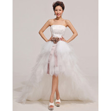 Newest A-line High-Low Strapless Ruffle Satin Organza Wedding Dresses with Sashes