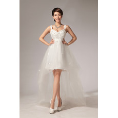 Popular A-line Asymmetric High-Low Empire Straps Satin and Organza Wedding Dresses