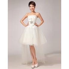 Discount A-line Asymmetric High-Low Strapless Satin Organza Short Wedding Dresses
