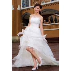 Inexpensive A-line Strapless Asymmetric High-Low Strapless Satin Organza Informal Wedding Dresses