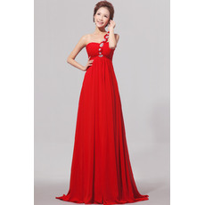Elegant One Shoulder Empire Chiffon Satin Long Red Bridesmaid Dresses for Wedding Party