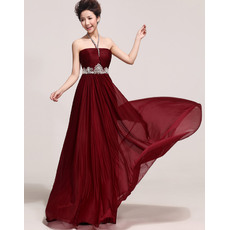Elegant Beaded Halter V-neck Chiffon Floor Length Sheath/ Column Evening Dresses with Rhinestone