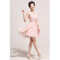 Nice Short Chiffon V-Neck A-Line Bridesmaid Dresses for Summer/ Spring