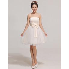 Pretty A-Line Strapless Short/ Mini Satin Organza Bridesmaid Dresses