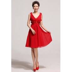 Beautiful V-Neck Knee Length Red Chiffon Organza A-Line Bridesmaid Dresses