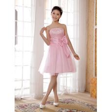 Inexpensive Knee Length A-Line Strapless Satin Bridesmaid Dresses