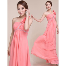 Inexpensive One Shoulder Empire Chiffon Long Evening/ Prom Dresses