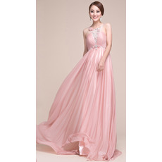 Sexy Empire Chiffon Sweep Train Formal Evening Prom Dresses