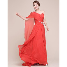 Affordable One Shoulder Chiffon Long Sheath Evening/ Prom Dresses