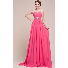 Sexy Straps Chiffon Sheath/ Column Floor Length Evening/ Prom Dresses