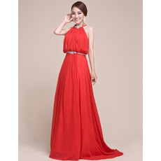 Sheath Halter Chiffon Floor Length Evening/ Prom Dresses for Women