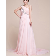 Custom One Shoulder Empire Chiffon Floor Length Evening/ Prom Dresses