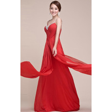 Inexpensive Column/ Sheath Spaghetti Straps Chiffon Floor Length Empire Evening/ Prom Dresses