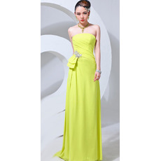 Pretty Strapless Chiffon Column/ Sheath Floor Length Evening/ Prom Dresses