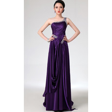 Discount One Shoulder Satin Column/ Sheath Floor Length Evening/ Prom Dresses