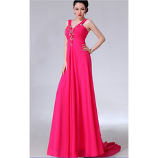Formal V-Neck Chiffon Column/ Sheath Floor Length Evening/ Prom Dresses