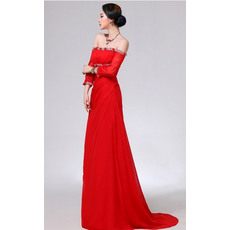 Elegant Column/ Sheath Custom Off-the-shoulder Long Sleeves Empire Chiffon Evening/ Prom Dresses