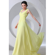 Attrictive Chiffon Square Sheath Floor Length Evening/ Prom Dresses