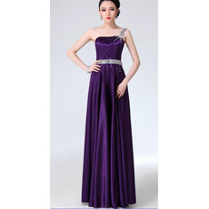 Newest Sheath/ Column One Shoulder Satin Column Floor Length Empire Evening/ Prom Dresses