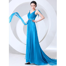 Fabulous V-Neck Sheath Chiffon Floor Length Empire Evening/ Prom Dresses