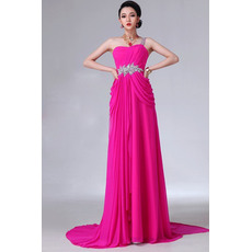 Sweet Sheath/ Column One Shoulder Chiffon Column Long Empire Evening/ Prom Dresses