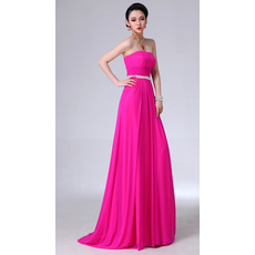 Fabulous Sheath Chiffon Strapless Floor Length Empire Evening/ Prom Dresses