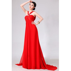Modest V-Neck Sheath Chiffon Floor Length Empire Evening/ Prom Dresses