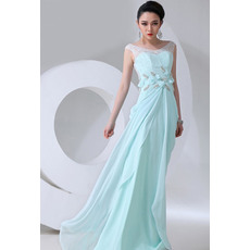 Custom Chiffon Sheath Round/ Scoop Floor Length Empire Evening/ Prom Dresses