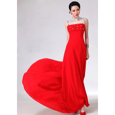 Inexpensive Mandarin Collar Chiffon Sheath Floor Length Empire Evening/ Prom Dresses