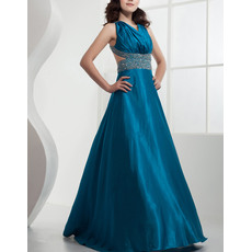 Classic Satin A-Line Floor Length V-Neck Evening/ Prom Dresses