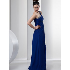 Beautiful One Shoulder Chiffon Floor Length Sheath Evening/ Prom Dresses