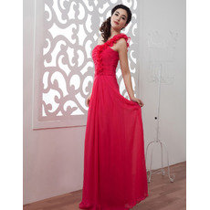 Sweet Ruffled One Shoulder Floor Length Chiffon Evening/ Prom Dresses With Ruched Bodice
