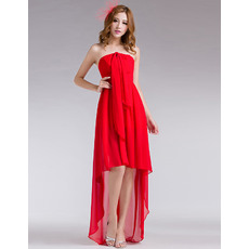 Special Sheath High-Low Chiffon Strapless Evening/ Prom Dresses