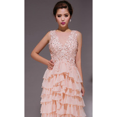 Cute Tiered Skirt V-Neck Chiffon Sheath Floor Length Evening Dresses