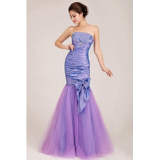 Sexy Mermaid Strapless Floor Length Satin Evening Dresses