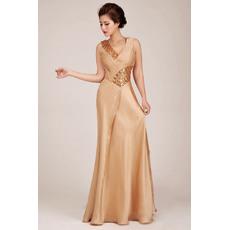 Discount Sheath V-Neck Floor Length Satin Formal Evening Dresses